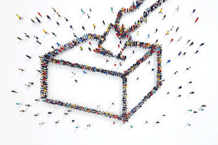 3D rendering of people forms elections symbol