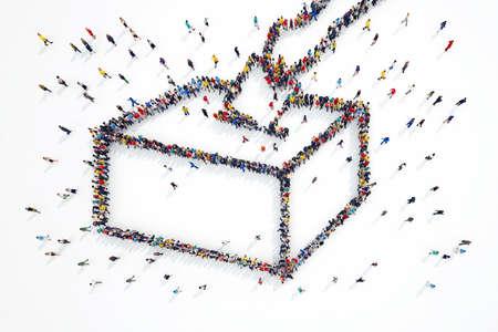 3D-Rendering von Menschen bildet Wahlen Symbol