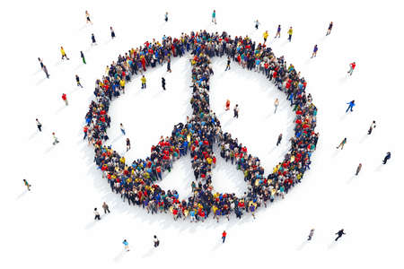 Representación 3D de la gente forma del símbolo de paz Foto de archivo - 55674752