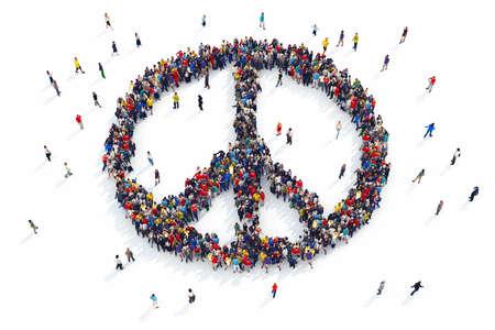 fraternidad: Representación 3D de la gente forma del símbolo de paz Foto de archivo