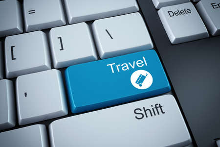 reservation: 3D rendering of travel button on keyboard