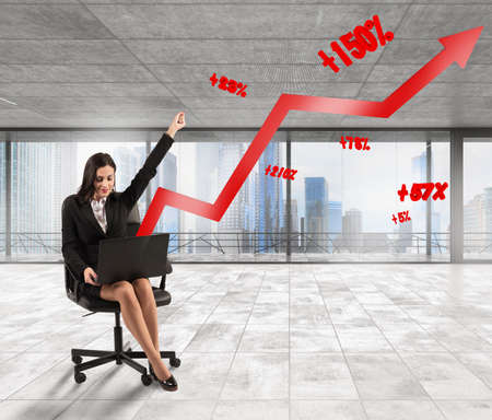 percentages: Woman exults with an arrow with percentages Stock Photo