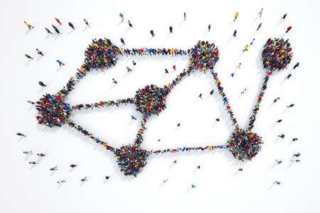 조직: 사람들의 3D 렌더링은 상호 기호를 형성