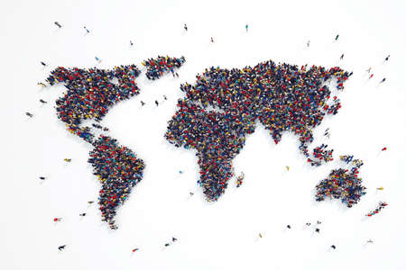 3D rendering of people forms world continents