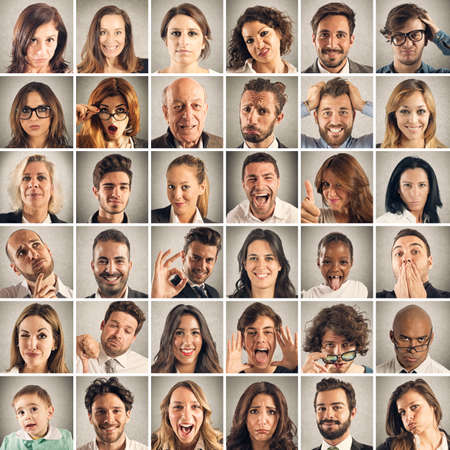 Face collage of men and women expressions Standard-Bild