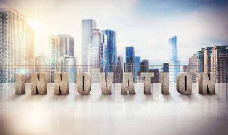 intelligent: 3d rendering of Written innovation on a terrace of skyscraper