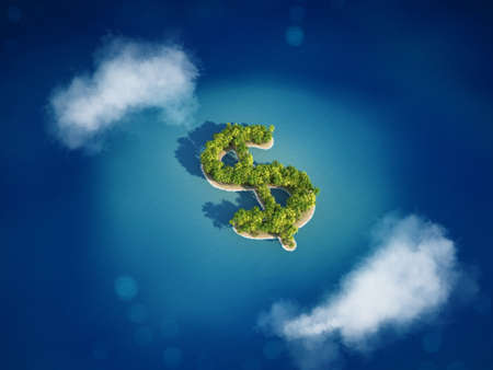 3D rendering of Island with the shape of the dollar