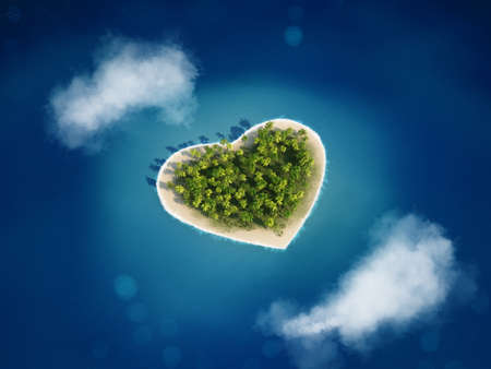 escaping: 3D rendering island with the heart shape