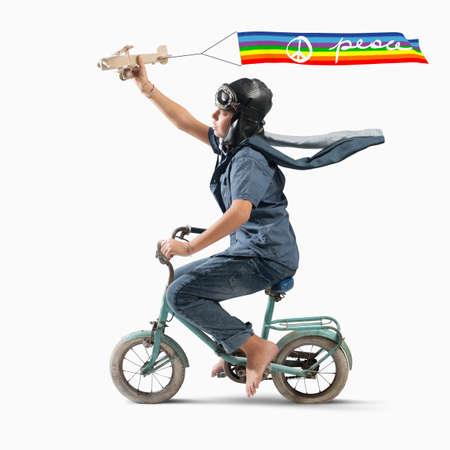 aviator: Boy aviator child with colored peace flag