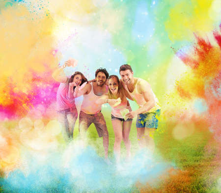 Colored powder with happy boys and girls
