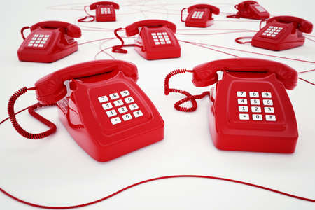 telephone switchboard: 3D rendering of red telephone with wires