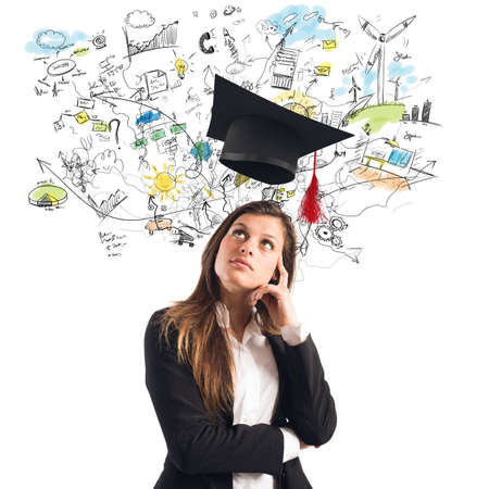 master degree: Woman with graduation cap and plan sketch Stock Photo
