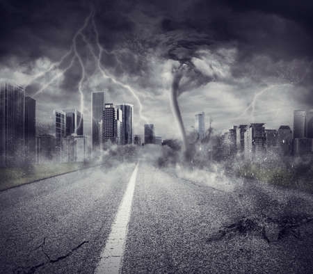 fear of failure: Concept of economic recession with a storm in a city