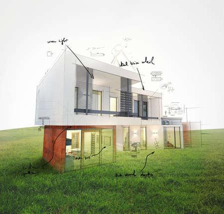 Projekt eines Hauses auf einem Rasen 3D-Rendering Standard-Bild - 56073891