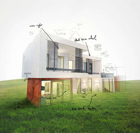 Project of a house on a lawn 3d rendering