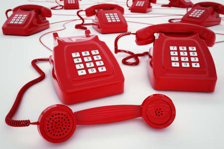 telephony: 3D rendering of vintage telephones with wires