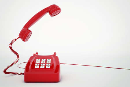 antique phone: 3D rendering of vintage telephone with wire Stock Photo