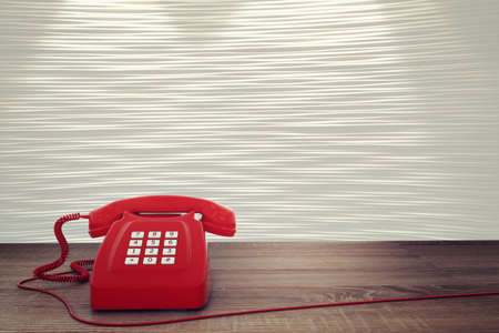 telephony: 3D rendering of vintage telephone with wire Stock Photo