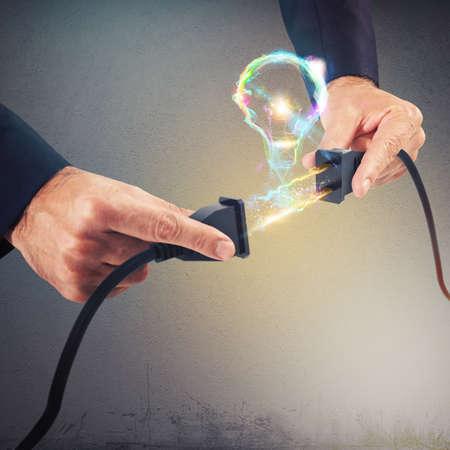 Electric light trails of plugs form bulb