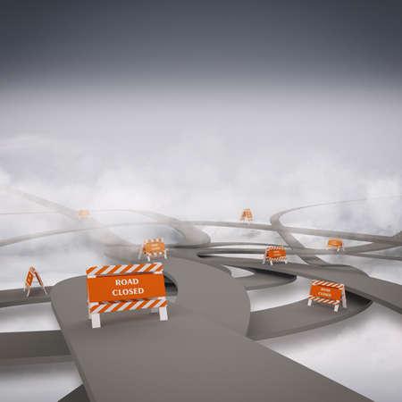 punctuality: Mara�a de carreteras con cierre de la carretera alerta a la representaci�n 3d