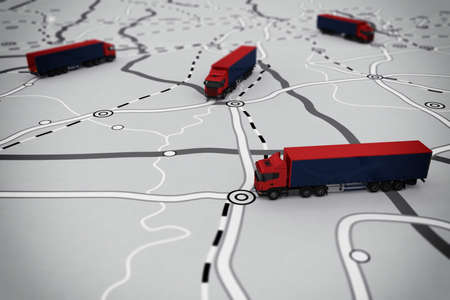 3D rendering of transport itinerary with camion Imagens - 56292520