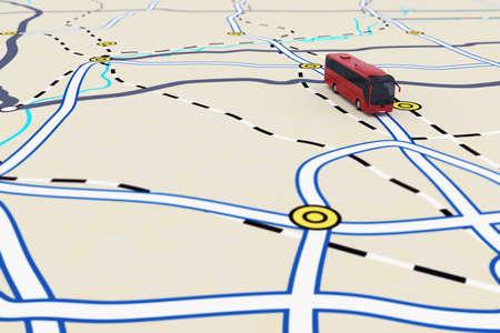 3D-weergave van het vervoer route met de bus