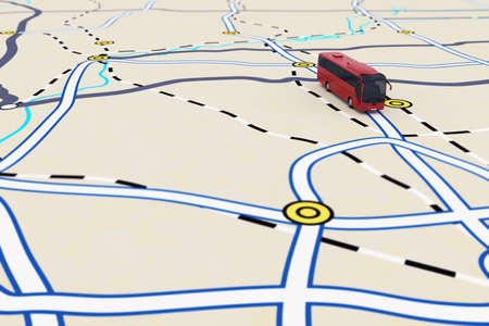 Representación 3D de itinerario de transporte con autobuses
