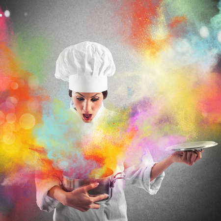 chef kitchen: Amazing explosion of colors from a pot