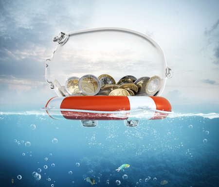 safe investment: Lifebelt with piggy bank in the sea 3d rendering