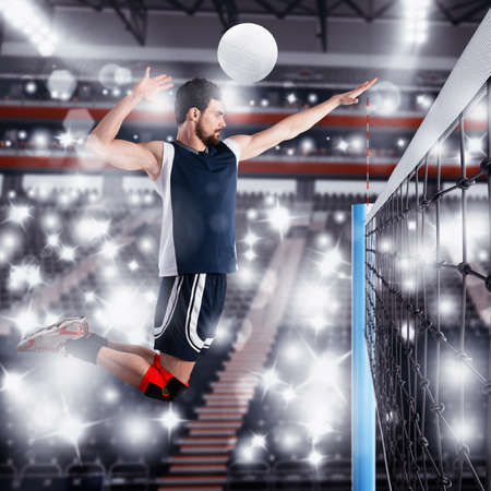 opponents: Volleyball player beats ball to the opponents