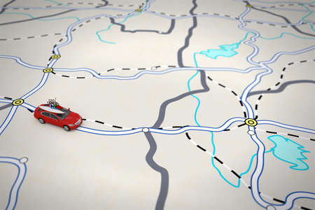 routes: 3D rendering of travel itinerary with car