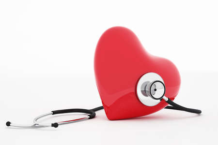 life insurance: 3D rendering of stethoscope and red heart