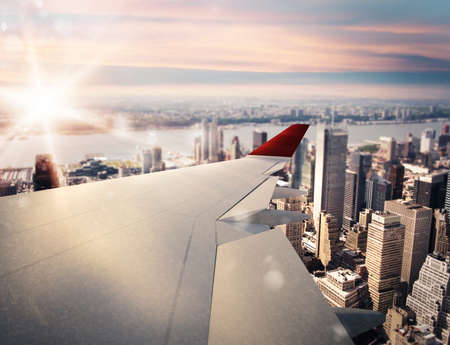 takeoff: 3D rendering of aircraft above the city Stock Photo