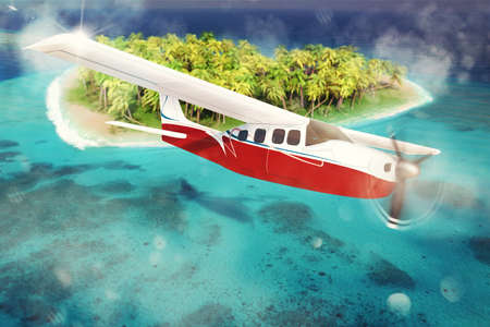 fly: 3D rendering of airplane flies over islet Stock Photo