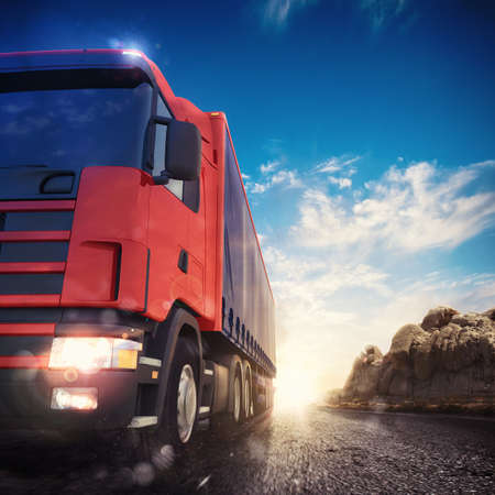 3D rendering transporter truck on a highway Stock Photo