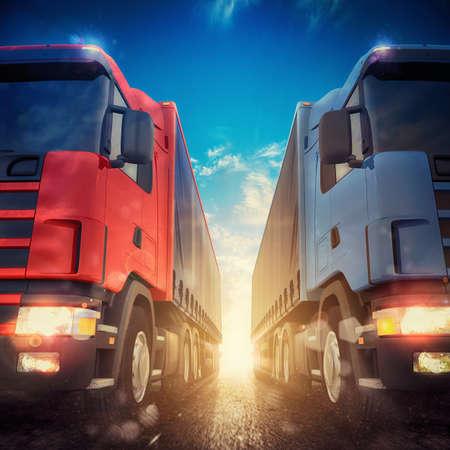 transporter: 3D rendering transporter trucks on a highway
