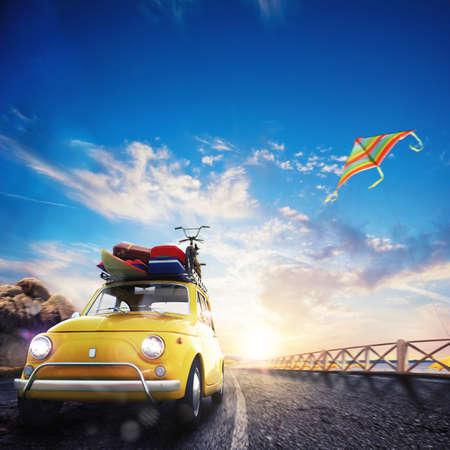 viagem: rendição 3D do carro velho com bagagem