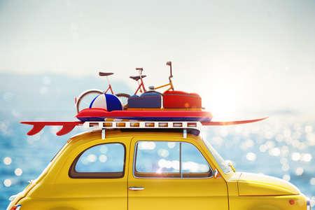 maleta: Representación 3D del coche con el equipaje en el techo Foto de archivo