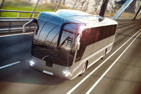 headlights: Realistic image of grey bus with headlights on the road. Business Travel Concept. Road bridge 3D rendering Stock Photo