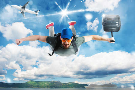 Man flies in the sky with baggage