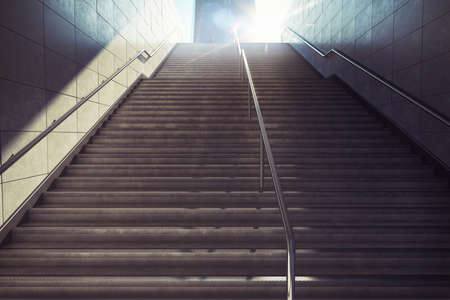 clamber: 3D Rendering of city stairs with sunlight