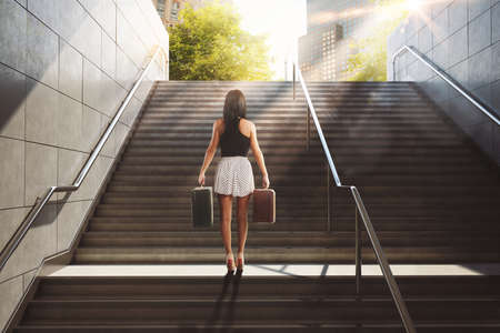 globetrotter: Woman with suitcase climbing a staircase in town . 3D Rendering
