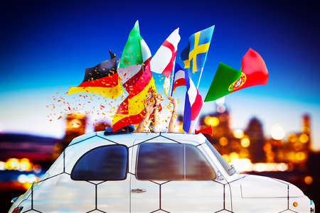 3D Rendering of car with flags and confetti 免版税图像