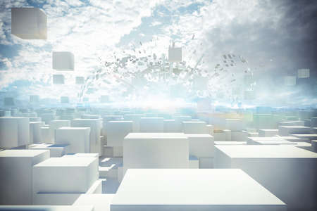 White buildings with cubes in the air 3d rendering