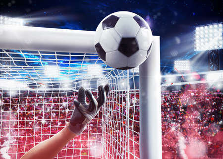 Goalkeeper saves the ball away with backgrounds fans in the stadium. 3D Rendering Фото со стока