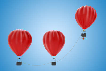 Hot air balloons flying together tied with a thread .3D rendering