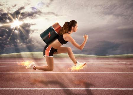 Representación 3D de una mujer con carreras de baterías Foto de archivo
