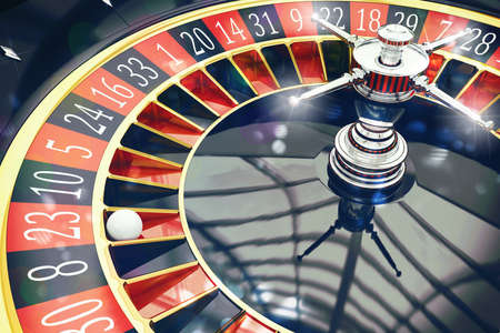 casino tokens: 3D Rendering of a roulette with ball