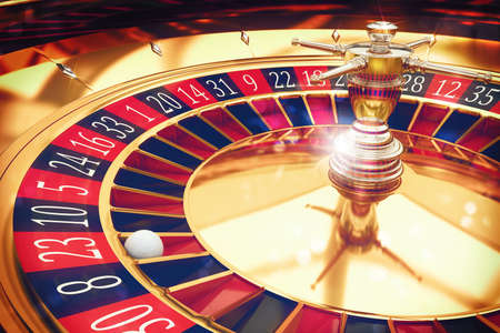 roulette player: 3D Rendering of a roulette with ball