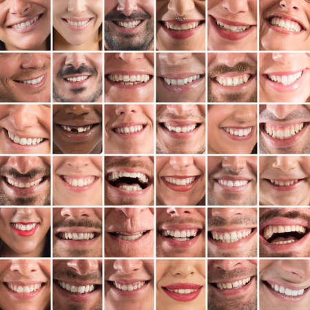 mouth smile: Collage of smiles of men women and children